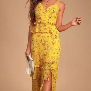 Lulu's Sunshine Bouquet Floral Maxi Dress BNWT